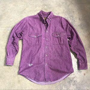 90s Eddie Bauer Distressed Purple Button Down